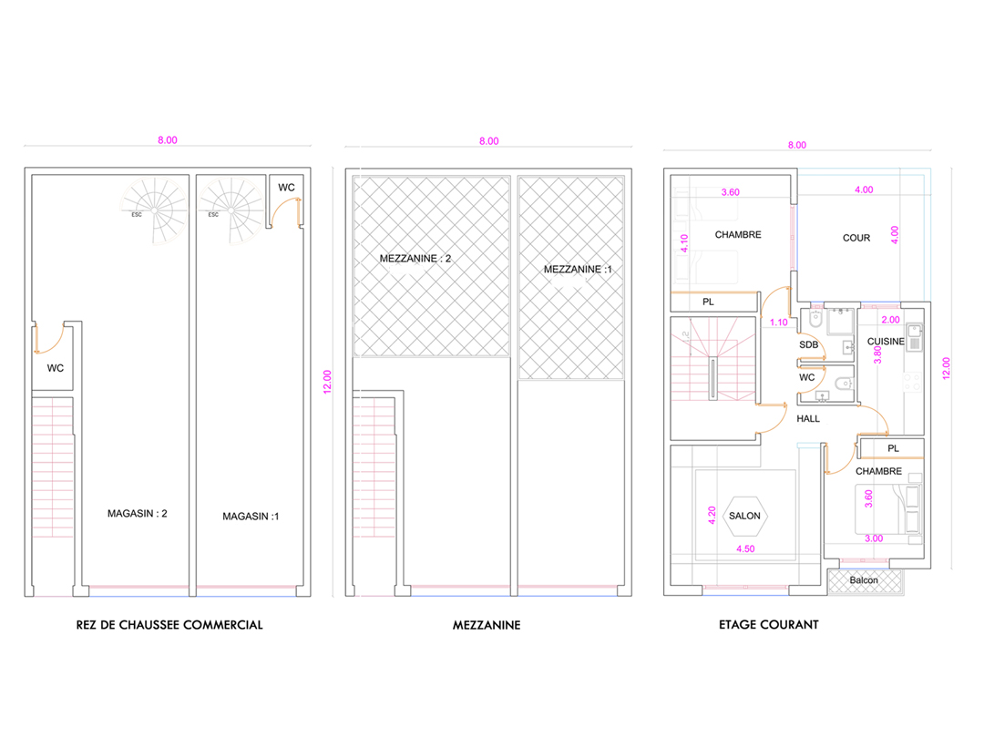 Plan R+2 Commercial 96m²